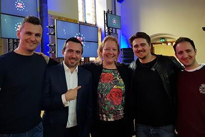 Barbara with four men